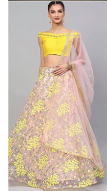 Yellow & Peach Thread Work Lehenga